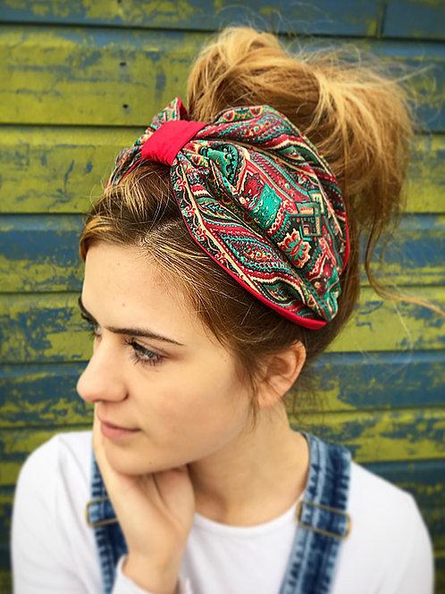 Red print turban band