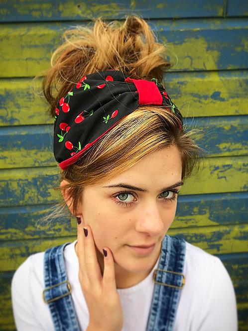 Black red cherry turban band