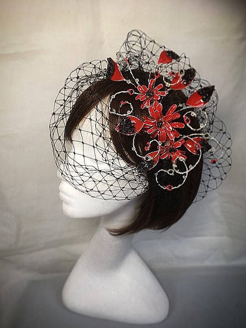 Red wedding fascinator