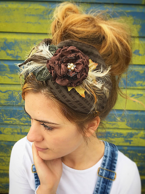 Brown fleece vintage turban