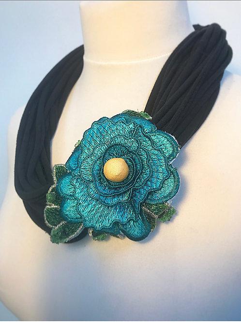 Black loop brooch scarf