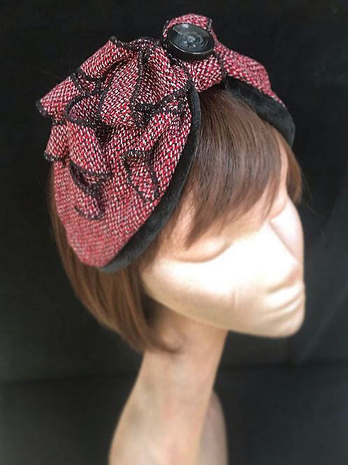 Red fleck wool turban band