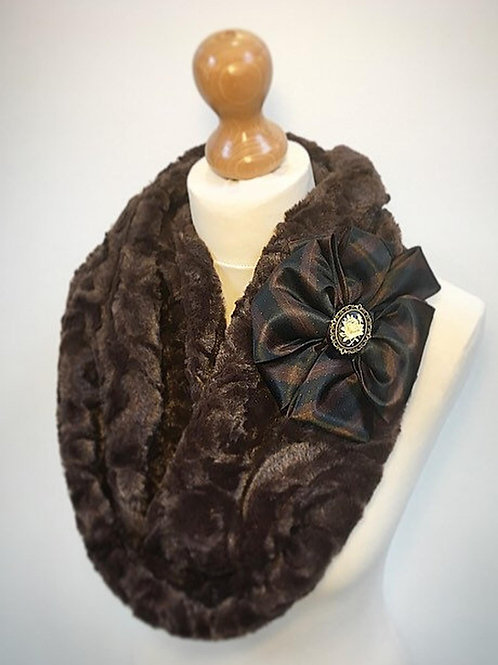 Brown fur cowl scarf