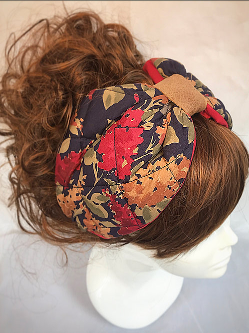 Quilted floral padded turban band