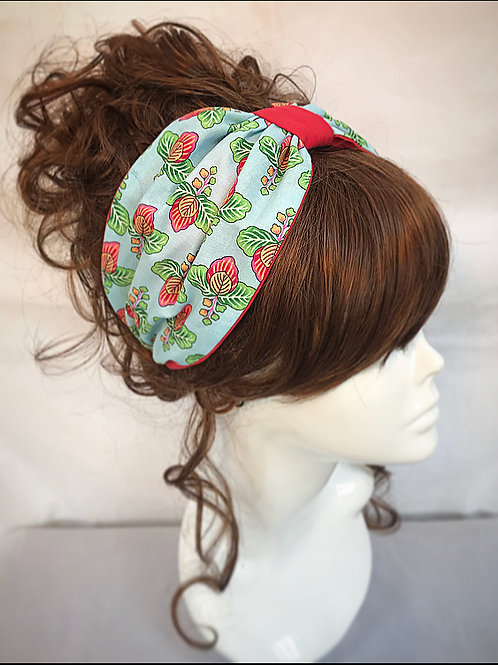 Blue and red print turban band