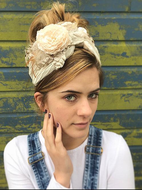 Cream floral turban band