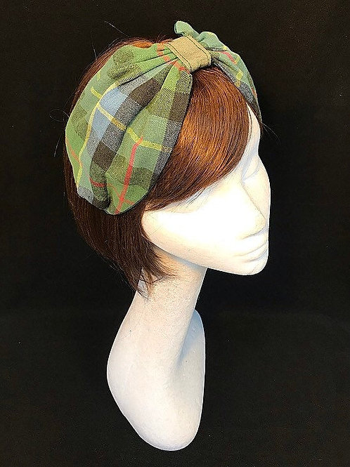 Green gingham turban CB21