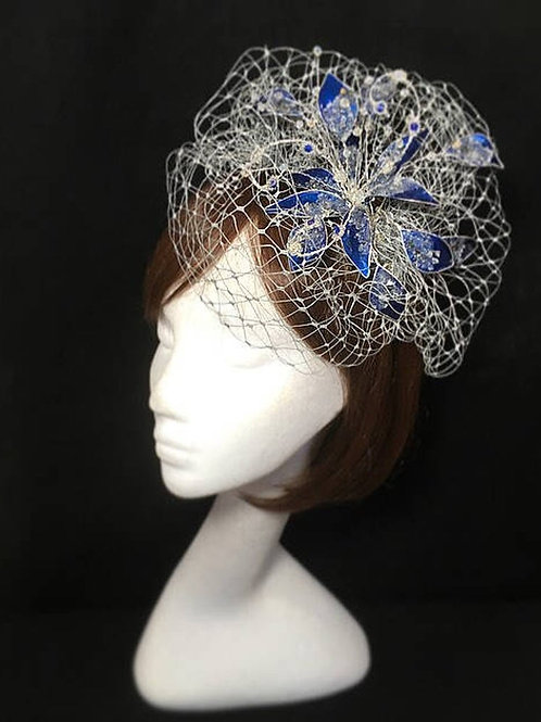 Blue and silver fascinator