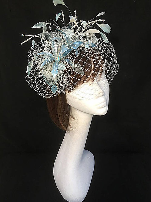 Blue veiled fascinator 20