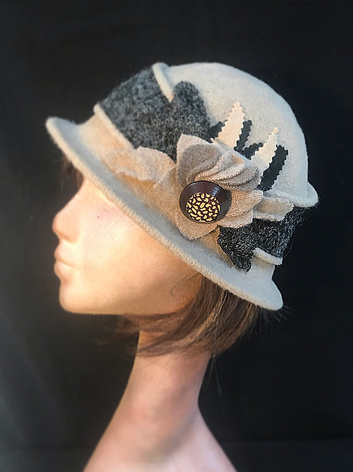 Beige wool embellished hat