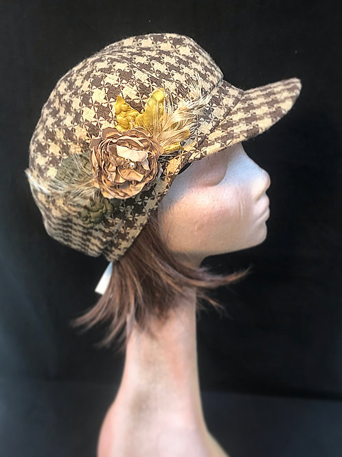 Brown and beige check baker boy cap