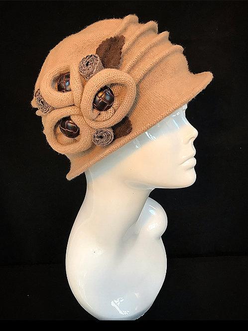 Beige embellished hat