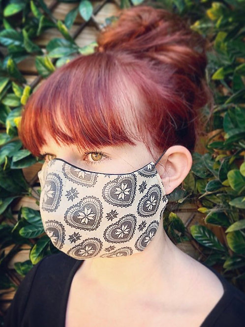 Victorian cream heart face mask