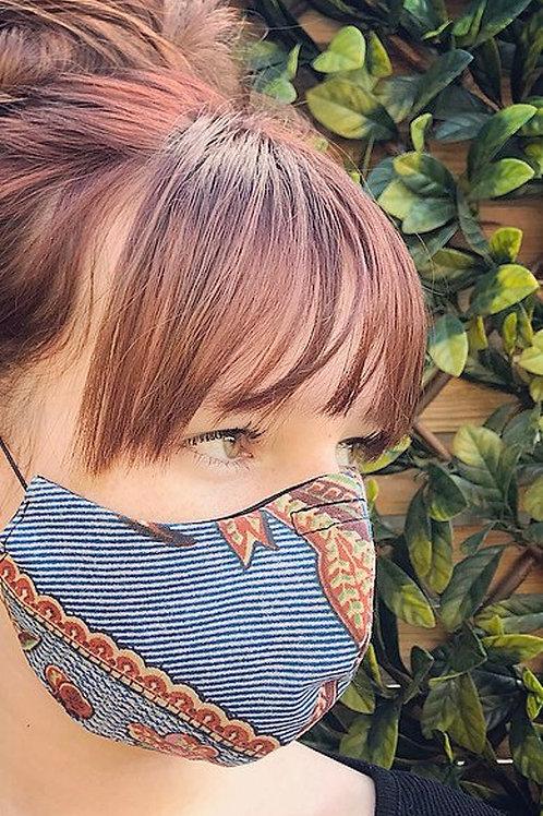 Blue cotton print face mask