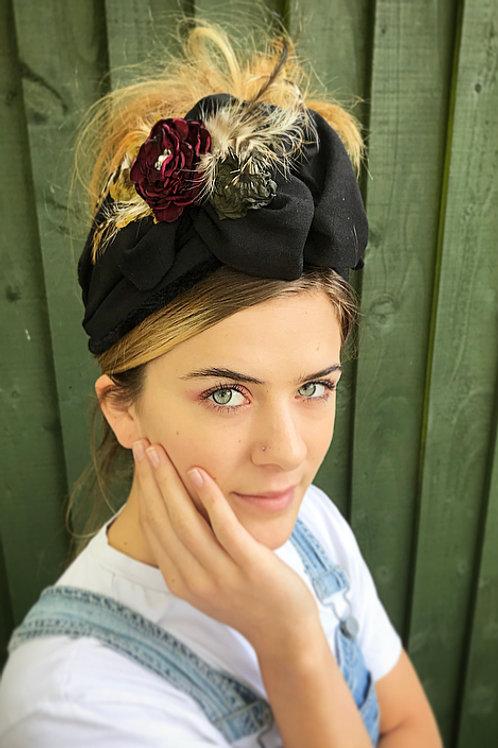 Black ruffle floral turban band