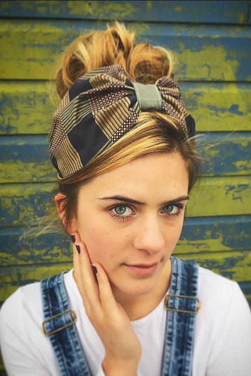 Khaki print turban band