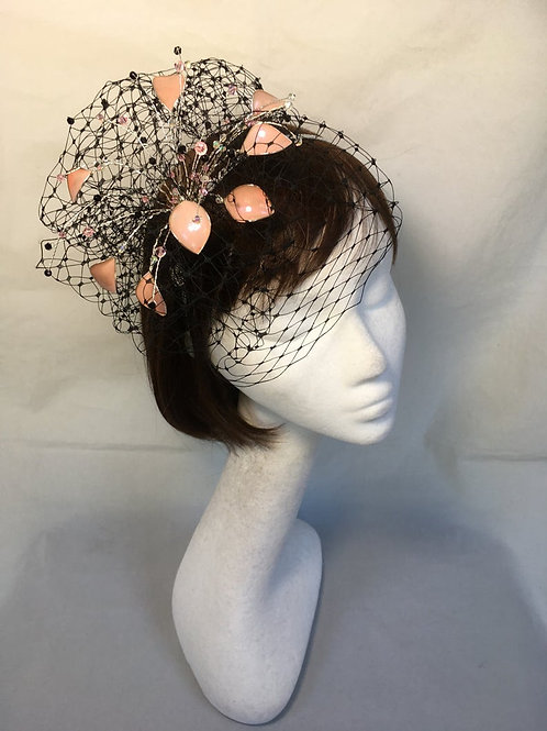 Pink and black fascinator 05