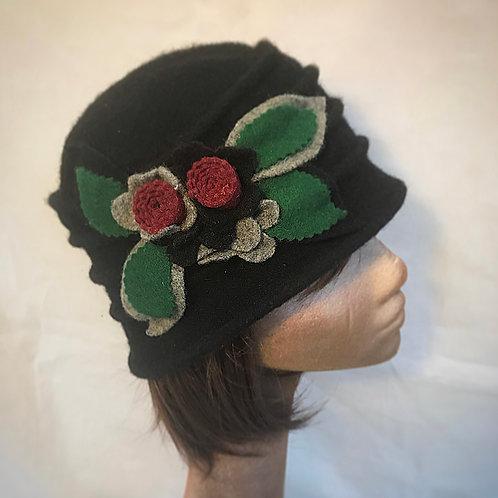 Black soft wool embellished hat