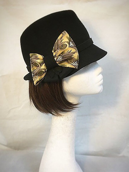 Black trilby bow hat