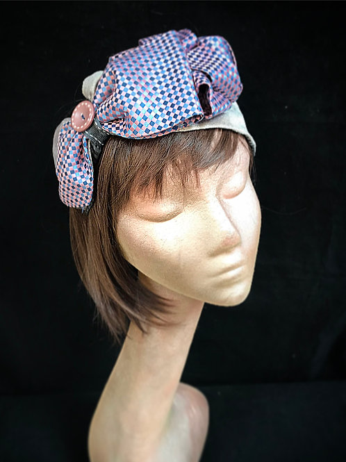 Silver and  lilac asymmetrical turban band