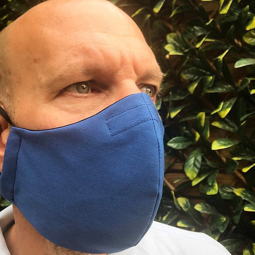 Mans large blue face mask