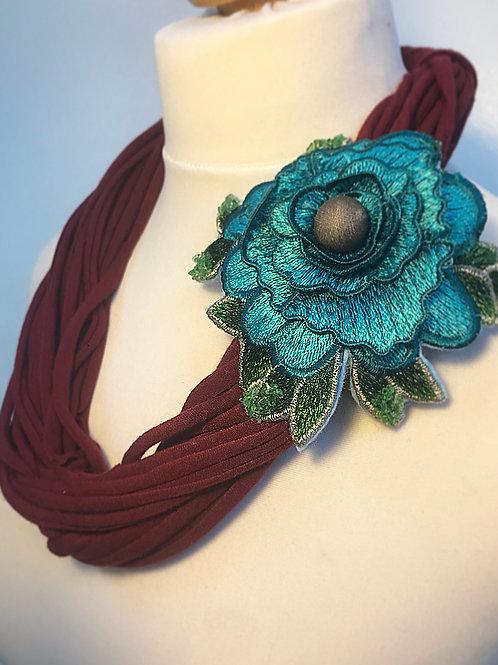 Maroon brooch loop scarf