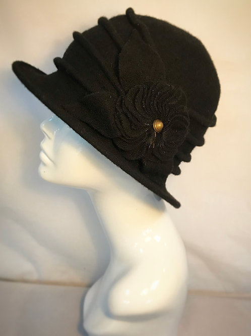 Black floral cloche hat