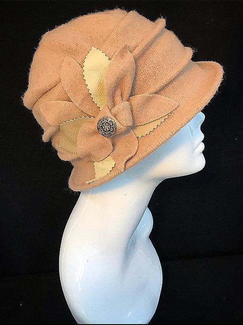 Ladies flower brown hat