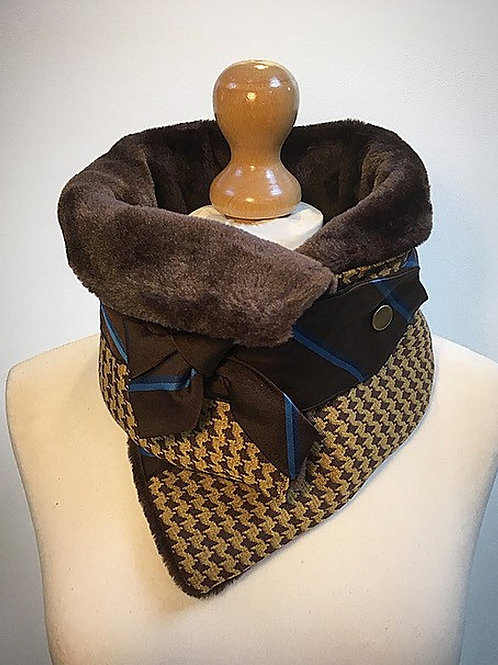 mustard and brown checked neck warmer