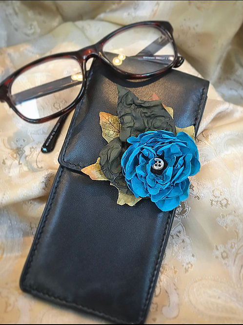 Leather blue floral glasses case