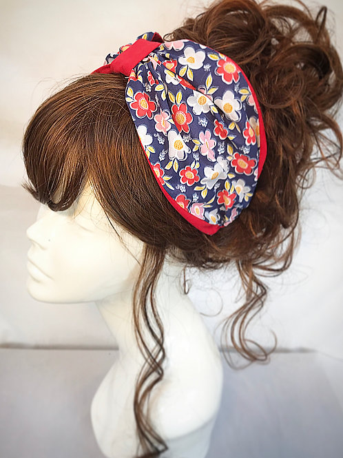 Red floral print turban band