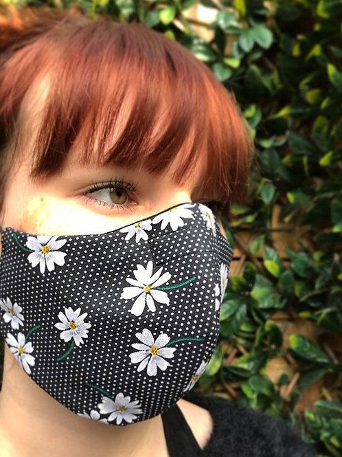 Black daisy print face mask