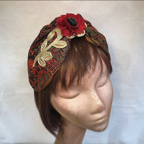 Maroon rose turban band