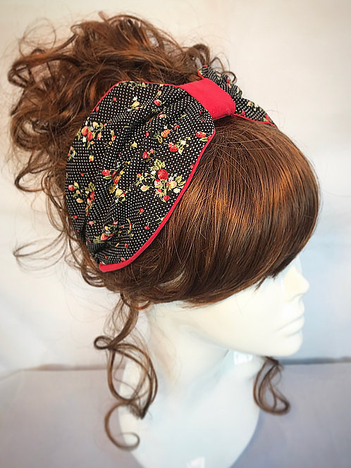 Black and red print turban band
