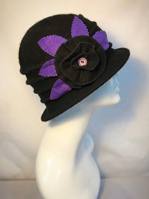 Black cloche vintage hat