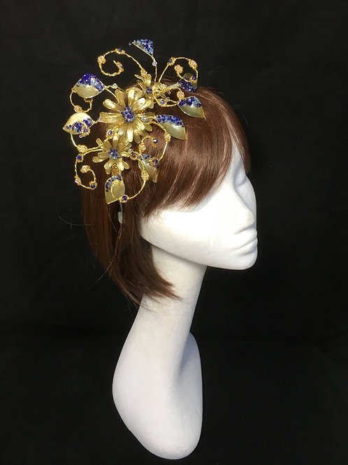 Gold and blue fascinator 99