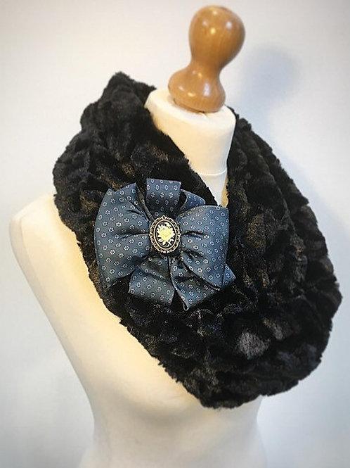 Black faux fur cowl scarf