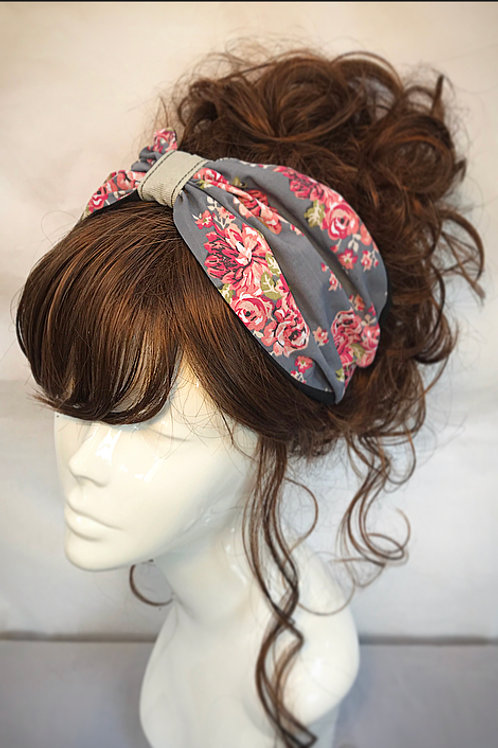 Grey floral turban band