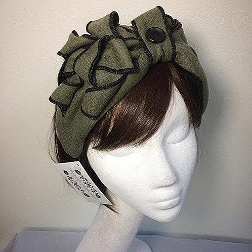 Green fleece lined turban band
