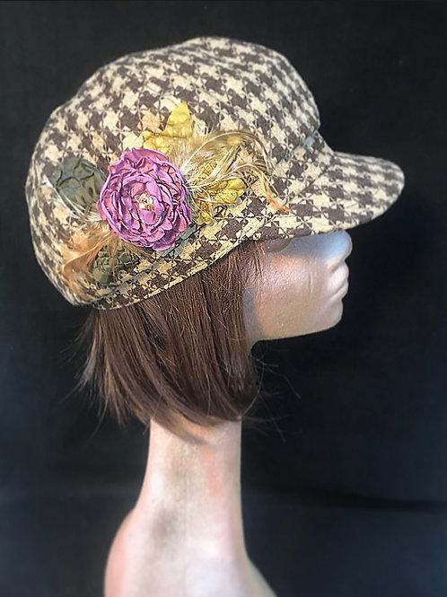 Brown beige check baker boy cap