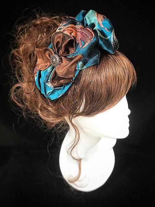 Teal blue velvet deluxe turban band