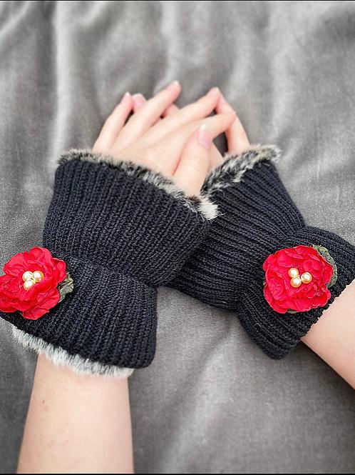 Red flower reversible wrist warmers