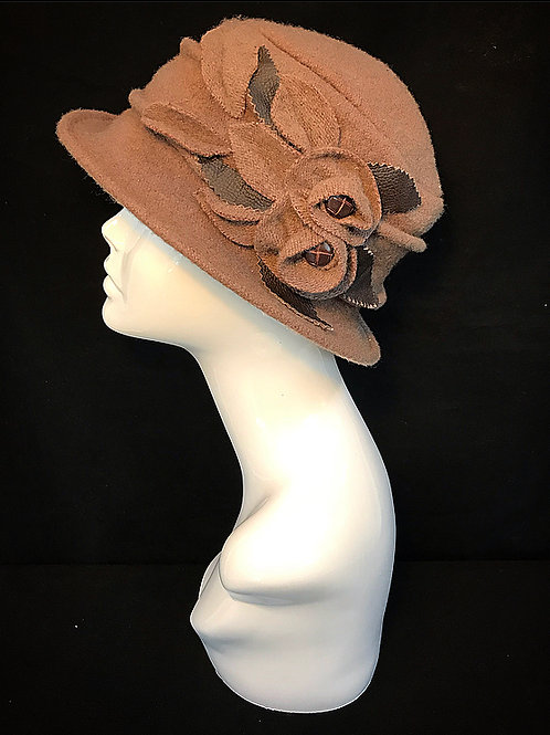 Brown vintage cloche hat