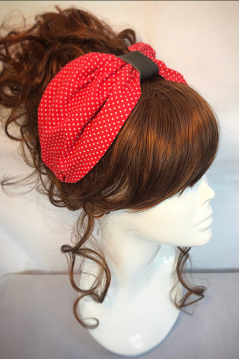 Red polka dot turban band