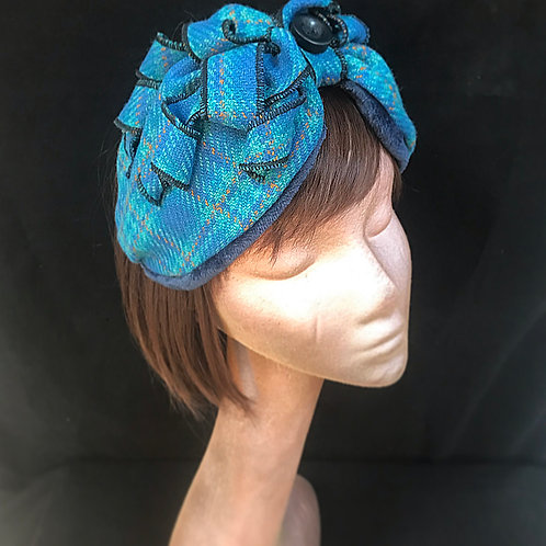 Blue check turban band