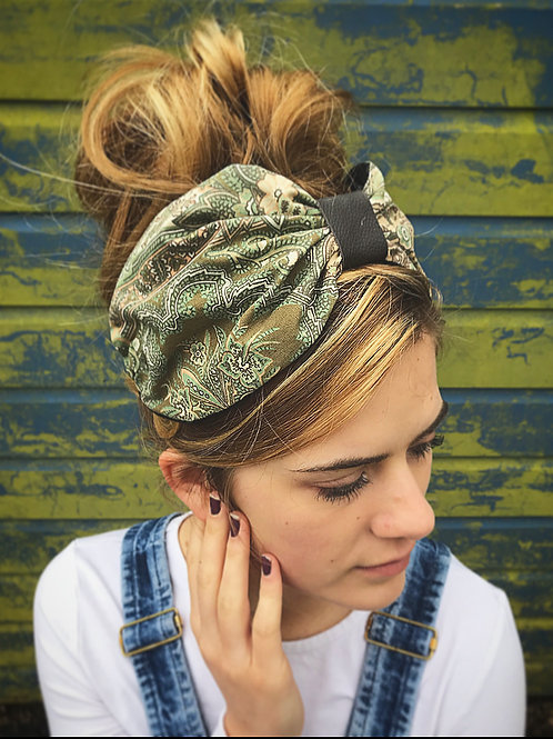 Green retro turban band