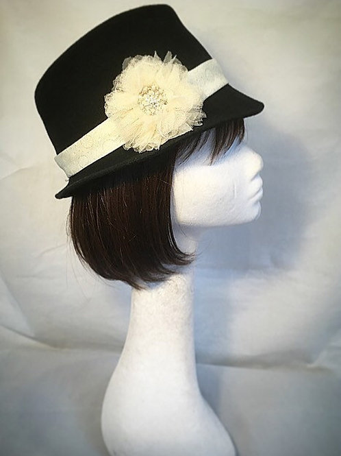 Black trilby, tulle flower