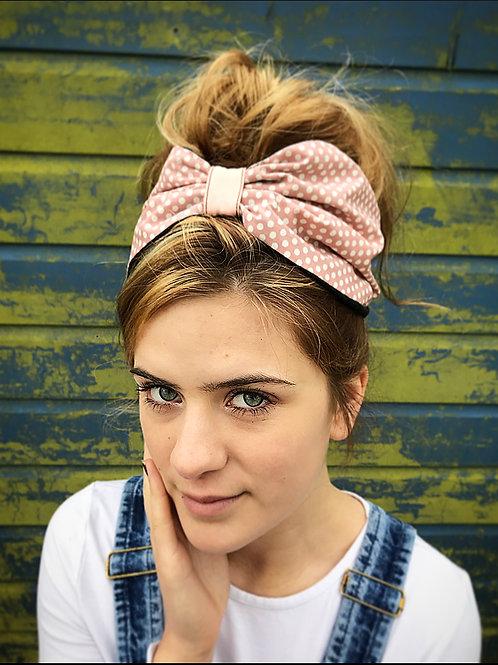 Pink polka dot turban band