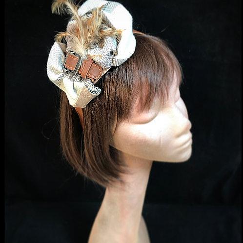 Beige tweed feather fascinator