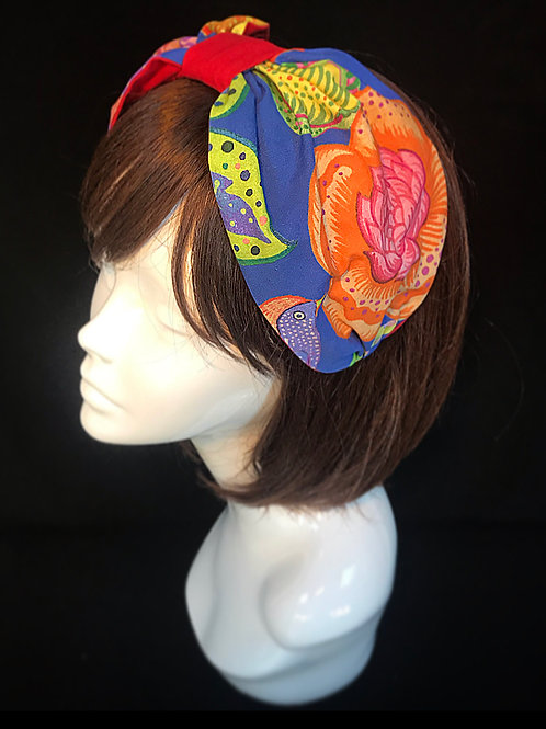 Blue bright floral turban band
